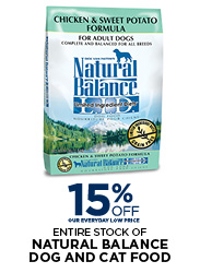 15% Off All Natural Balance Dog & Cat Food