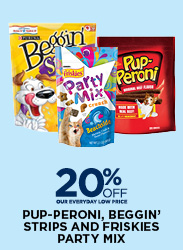 20% Off Pup-Peroni, Beggin' Strips and Friskies Party Mix