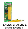 Pencils, Erasers & Sharpeners