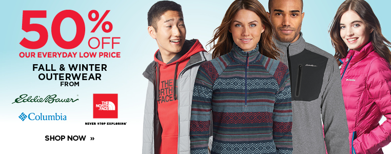 50% Off Select Outerwear and Apparel from The North Face, Columbia and Eddie Bauer