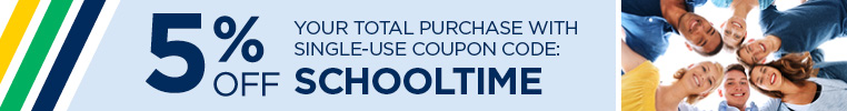 Save 5% on your total purchase with coupon code SCHOOLTIME