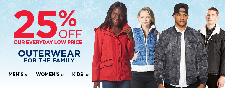 25% off outerwear for the family