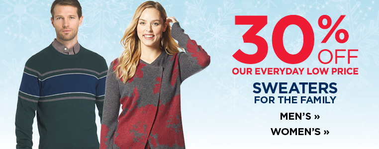 30% off Sweaters for the Family