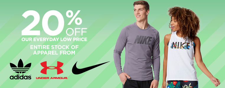 20% Off Under Armour, Nike, adidas