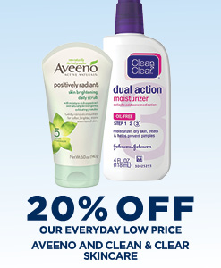 20% Off All Aveeno and Clean & Clear Skincare