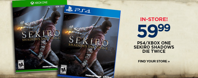 Sekiro Shadows Die Twice in-stores now