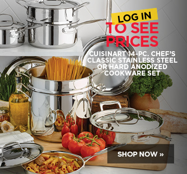 Log in to see pricing on Cuisinart 14 piece Stainless Steel cookware set