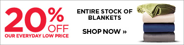 20% off entire stock of blankets