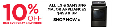 10% off LG and Samsung appliances $499 and up