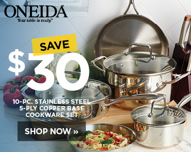 Save $30 on Oneida Stainless Steel 10 piece cookware set