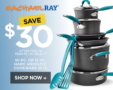 Save $30 on Rachel Ray 10 or 12 piece Hard Anodized Cookware Set