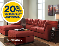 20% off upholstery, bedroom, and dining furniture