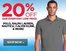 20% off men's Polo, Ralph Lauren, Nautica, and Calvin Klein