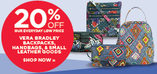 20% off Regular Priced Vera Bradley Backpacks, Handbags and Small Leather Goods