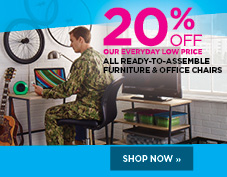 20% off all office chairs and ready to assemble furniture