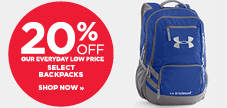 20% off select backpacs