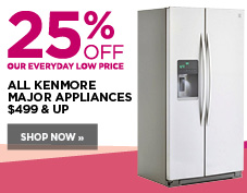 25% off Kenmore major appliances $499 and up