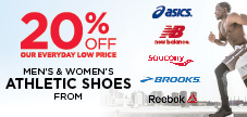 20% off Athletic Shoes from Asics, Brooks, New Balance and Saucony