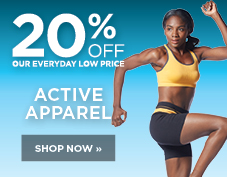 20% off women's active apparel