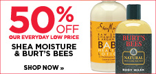50% off Shea Moisture and Burt's Bees