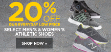 20% off select men's and women's athletic shoes