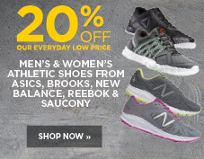 20% off men's and women's athletic shoes
