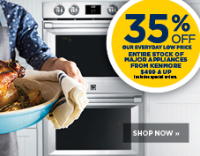 35% off all major appliances from Kenmore