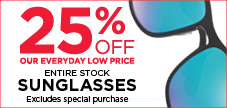 25% off all sunglasses