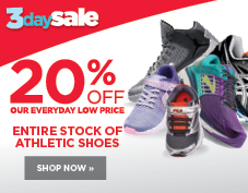 20% entire stock of athletic shoes