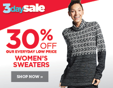 30% off women's sweaters