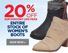 20% entire stock of women's boots