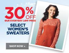 30% off select women's sweaters
