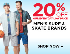 20% off men's surf and skate