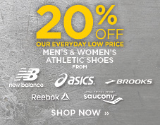 20% off athletic shoes from Reebok, Asics, New Balance, Brooks, and Saucony