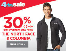 30% off men's Columbia and The North Face