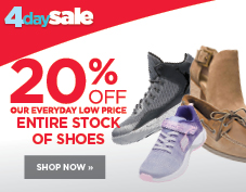 20% off entire stock of shoes