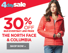 30% off women's Columbia and The North Face
