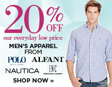 20% off select men's apparel brands