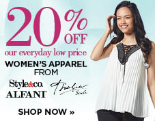 20% off women's apparel from Style & Co., Alfani, and Thalia