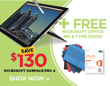 Save $130 on Microsoft Surface Pro 4 plus free Office software and type cover