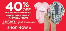 WOW! 40% off baby apparel from Carter's and First Impression