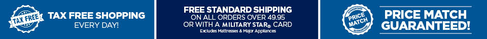 Tax free shopping, Free standard shipping on all orders $49.95 and up, Price match guarantee