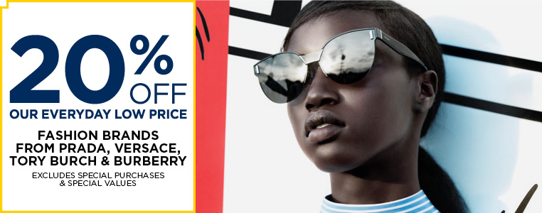20% Off Sunglasses from Prada, Versace, Tory Burch and Burberry