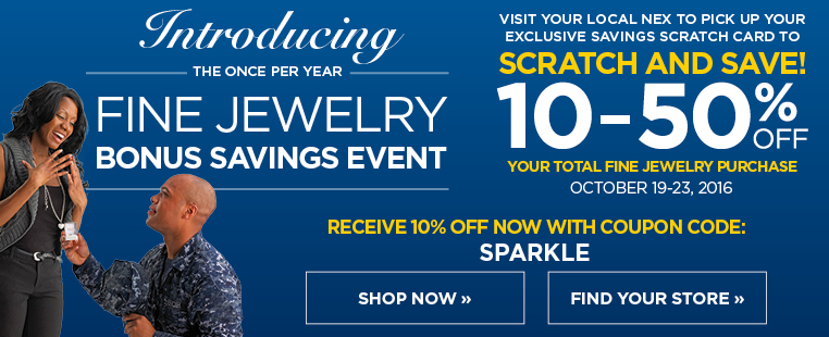 10% off your total jewelry purchase with coupon code SPARKLE