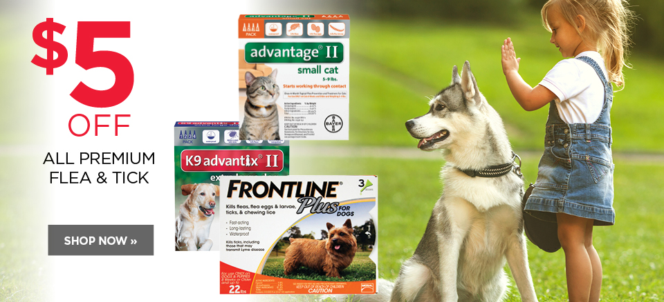 $5 off all premium flea and tick for your pet
