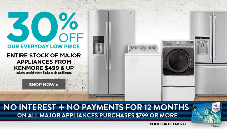 30% off Kenmore major appliances $499 and up