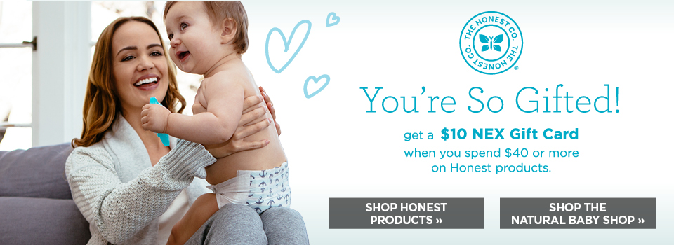 Get a $10 NEX gift card when you spend $40 or more on The Honest Company products