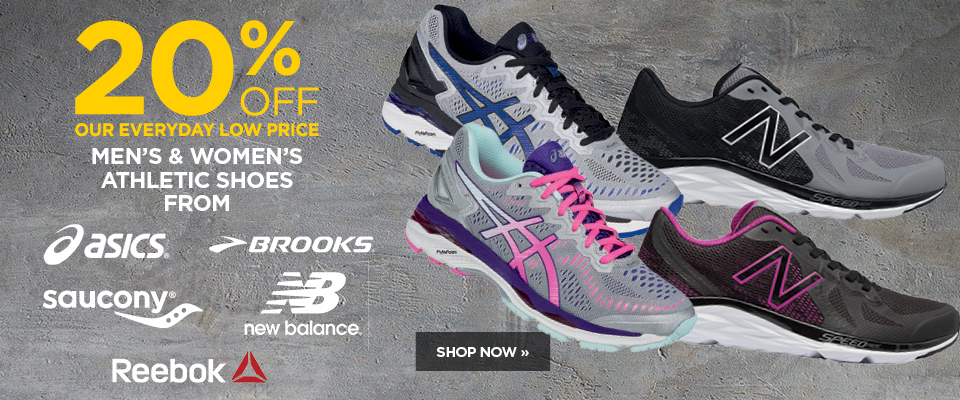 Save 20% on select men's and women's athletic shoes
