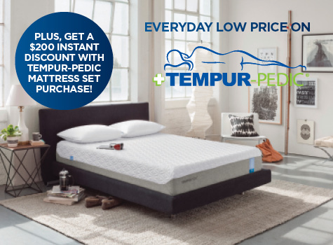 $200 Instant Discount with Tempur-Pedic Mattress Set Purchase