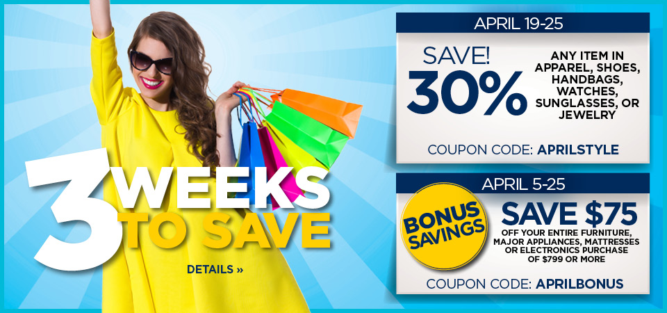 3 weeks to save with coupon codes APRILSTYLE and APRILBONUS